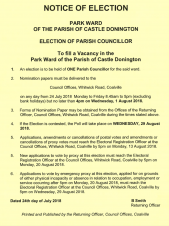 Notice of Election in Park Ward Castle Donington