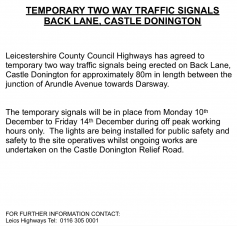 TEMPORARY TWO WAY TRAFFIC SIGNALS BACK LANE, CASTLE DONINGTON